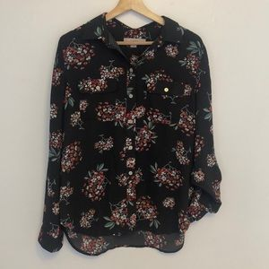 Ann Taylor Loft Floral Button Down Top